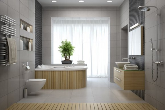 Poseur de carrelage adhésif pour une salle de bain